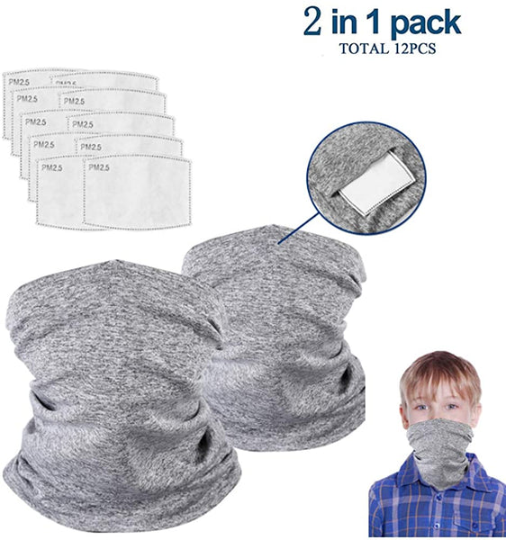 Unisex-baby Neck Gaiter with Safety Carbon Filters - 2pack Neck Gaiter with 10pcs Filters, Multi-purpose Non-Slip Breathable Face Cover for Saliva and Dust Protection, Outdoors Cycling and Sport