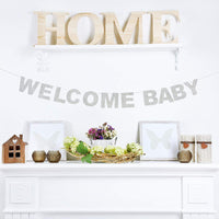 Welcome Baby Silver Glitter Theme Bunting Banner For Celebrate Baby Shower Baby birthday Party Creative Decorations.