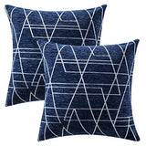 MIULEE Pack of 2 Decorative Throw Pillow Covers Woven Textured Chenille Cozy Modern Concise Soft Navy Blue Square Cushion Shams for Bedroom Sofa Car 18 x 18 Inch