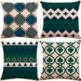 ZUEXT Navy Blue Geometric Throw Pillow Covers 18 x 18 Inch 2 Side Print, Set of 4 Square Cotton Linen Decorative Pillow Cases Cushion Cover for Car Couch Sofa Home Decor (Bright Green Auqa Stripe)