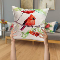 Asamour 4 Pack Throw Pillow Covers Watercolor Red Bird Sitting on The Tree Cotton Linen Throw Pillow Case Spring Decorative Cushion Cover Couch Pillowcase 18x18 Inches (4 Pack Watercolor Red Bird)