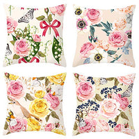 TongXi Bird and Flower Pattern Decorative Throw Pillow Case Cushion Covers 18x18 inches Pack of 4 (Bird)