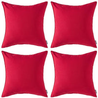 MIULEE Pack of 4 Decorative Outdoor Waterproof Pillow Cover Square Garden Cushion Case PU Coating Throw Pillow Cover Shell for Tent Park Couch 18x18 Inch Red