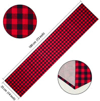 HTFD 1PCS 14X72inch Burlap Buffalo Check Table Runner Plaid Reversible Buffalo Check Table Runner for Thanksgiving Day Christmas Holiday Fall, Valentine's Day Birthday Party Table Home Decoration