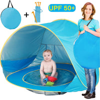 TURNMEON Baby Beach Tent, Pop Up Portable Sun Shelter with Pool, 50+ UPF UV Protection & Waterproof 300MM, Summer Outdoor Tent for Aged 0-4 Baby Kids Parks Beach Shade (Blue)