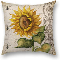 Thanksgiving Decorative Pillow Covers Autumn Sunflower Square Cushion Fall Harvest Throw Pillows Home Decor Pillowcases Cotton Linen Burlap 18x18 4 Pack