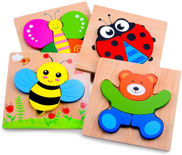 MAGIFIRE Wooden Animal Jigsaw Puzzles for Toddlers 1 2 3 Years Old,Boys&Girls Educational Toys Gift with 4 Animals Patterns,Bright Vibrant Color Shapes