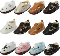 Baby Boys Girls Sandals Soft Rubber Sole Closed-Toe Leather Infant Summer Outdoor Crib Shoes Toddler First Walkers Slippers