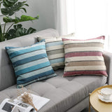 MIULEE Pack of 2 Decorative Classic Retro Stripe Throw Pillow Covers Cotton Linen Modern Farmhouse Pillow Case Blue Cushion Case for Sofa Bedroom Car 18 x 18 Inch 45 x 45 cm