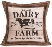 "Fukeen Vintage Wood Farm Animal Quote Decorative Throw Pillow Cases Fresh Eggs and Delicious Milk Dairy Cow Hen Cushion Covers Cotton Linen Rustic Farmhouse Decor Standard 18""x18"" Pillowcases, 4 Pack"