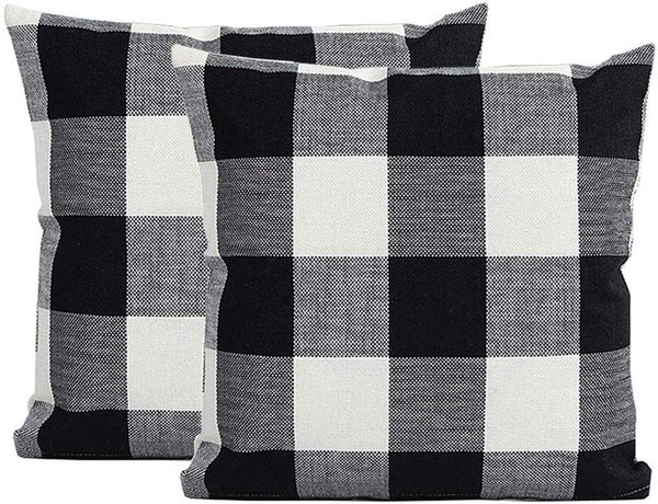 "Burlap Farmhouse Decor Buffalo Checkers Plaid Cotton Linen Decorative Throw Pillow Cover Rustic Cushion Cover Pillowcase for Sofa 18 x 18 Inch, Set of 2 (Black White, 18""¡Á18"")"