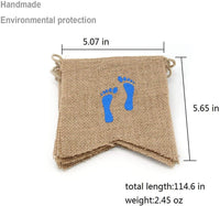 Faylapa It's A Boy Bunting Burlap Banner,Rustic Hanging Flag with Blue Footprint Baby Shower Party Decorations for Baby Boy
