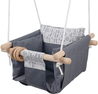 Jozeit Baby Kids Toddler Canvas Swing Seat Chair - with Cushion - Lace Decor (Grey)