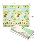 Extra Large Baby Play Mat Foldable Reversible Non Toxic Foam Crawl Playmat Waterproof Kids Baby Toddler Outdoor or Indoor Use (70.8x78x0.4in)(Green Forest + Animal World)