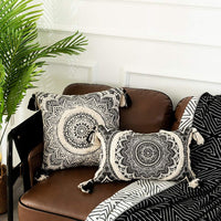 Tiffasea Decorative Throw Pillow Covers Accent Black and Cream Pillow Cases Boho Neutral Tufted Tassels Cushion Cover Home Decor for Farmhouse Bedroom Living Room (12x20 Inch, Mandala)