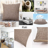 "ALHXF Pillow Cover 2 Pack Burlap Linen Throw 18""X18"" Home Decorative Solid Square Pillowcase, Outdoor Pillow Covers, Handmade with Invisible Zipper for Sofa Couch Bed,Car, Camping"