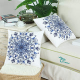 CaliTime Pack of 2 Cozy Fleece Throw Pillow Cases Covers for Couch Bed Sofa Vintage Mandala Snowflake Floral 18 X 18 Inches Navy Blue