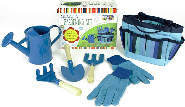 Taylor Toy Children Gardening Tool Set - Gardening Toys for Kids - Outdoor Toys with Bag (Blue)