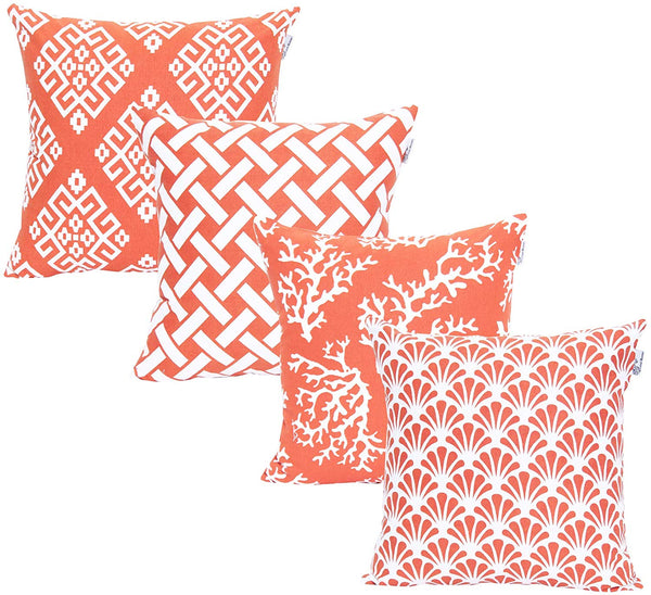 ACCENTHOME Square Printed Cotton Cushion Cover,Throw Pillow Case, Slipover Pillowslip for Home Sofa Couch Chair Back Seat,4pc Pack 18x18 in Coral Color