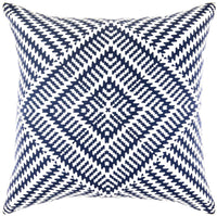 TreeWool Decorative Square Throw Pillowcases Set Kaleidoscope Accent 100% Cotton Cushion Cases Pillow Covers (18 x 18 Inches / 45 x 45 cm; Navy Blue & White) - Pack of 2
