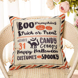 Fahrendom Happy Halloween Boo Pumpkins Trick or Treat Candy Creepy Costumes Spooky Holiday Sign Cotton Linen Home Decorative Throw Pillow Case Cushion Cover with Words for Sofa Couch 18 x 18 in