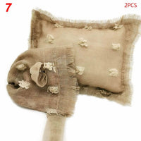 2 Pcs/set Baby Infants Photo Accessories Tie-dyed Cotton Linen Hat Pillow Set Newborn Photography Props