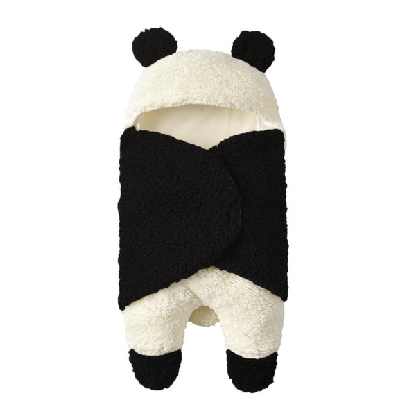 Pudcoco Adorable Infant Baby Panda Swaddle Wrap Autumn Winter Super Soft Plush Cartoon Wool Lamb Hug  Sleeping Wrap Blanket
