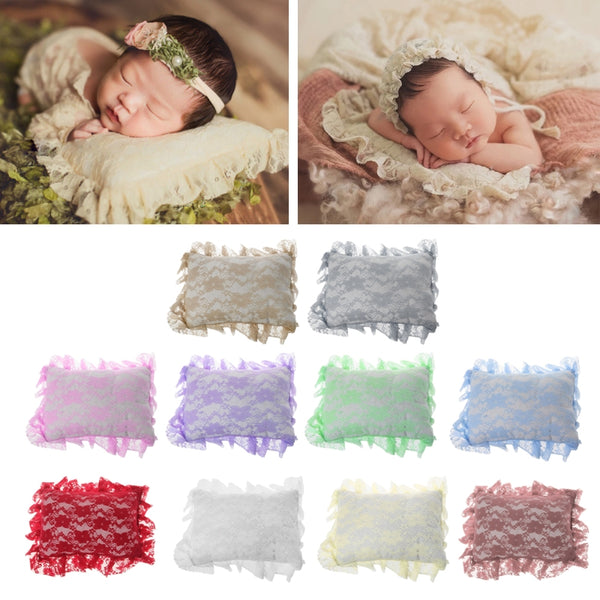 2018 Newborn Baby Posting Pillow Crochet Soft Lace Positioner Pillow Photography Props Infant Studio Photo Shoot Props-M20