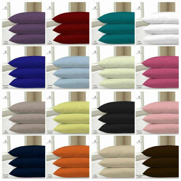 2 x Luxury Pillow Case Cases Plain Dyed Polycotton Housewife Pair Pack 20 Colour