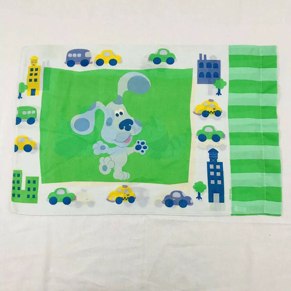Vintage Blue Clues Twin Single Pillow Case Child Bedding Dog Fabric Craft