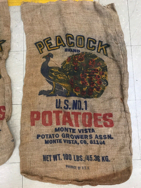 1 Antique Vintage Burlap Potato Sack Peacock Brand USA Colorado 100 Lb Bag Color
