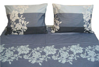 DaDa Bedding 2 PCs Soft Floral Navy Blue Flat Sheet Set & 1 Pillow Case, Twin