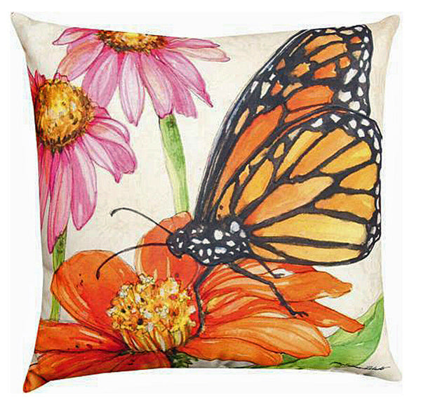 """MAJESTIC MONARCH BUTTERFLY"" REVERSIBLE INDOOR OUTDOOR PILLOW - 18"" SQUARE"
