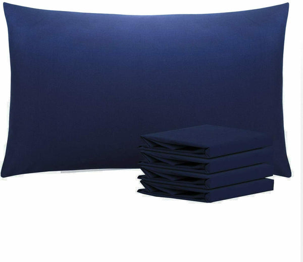 2 x Pillow Cases Pair 100% Polly Cotton 200TC Housewife Bed Pillows Covers Navy