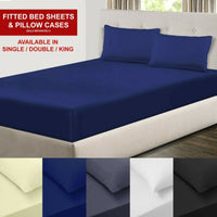 Full Fitted Sheet Bed Sheets Single Double King Super King Size Poly Cotton