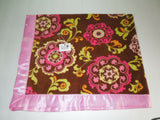 NEW Pink Brown Damask Satin Fleece Childrens Blanket/Pillow Case Baby Gift