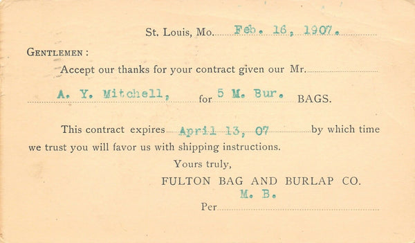 St Louis MO Fulton Bag & Burlap~Contract Postal~Newton Mill & Elevator KS 1907