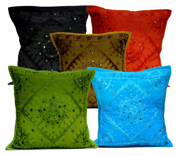 New Indian Art Handmade Mirror Work Pillow Case Cushion Cover Sofa Decor