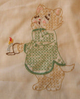 Vintage Baby Pillow case Cat Embroidery Kitten in Nightshirt Kitten Embroidery