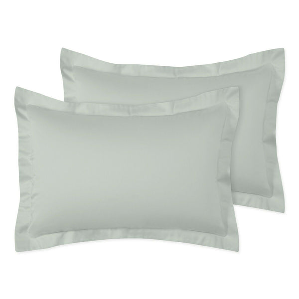 2 x Pillow Cases Oxford Covers Easy Care 100% Poly-Cotton Plain Dyed Pillow Pair