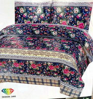 Printed Flat Sheet Bed Sheet Poly cotton Double/king with 2Matching Pillow Cases