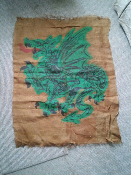 "044 Vintage Burlap Wall Hanging Green Dragon Oriental 37x48"" Bag Rice??"