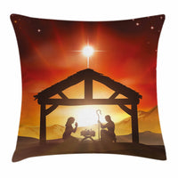 Religious Throw Pillow Case Baby Messiah Nativity Square Cushion Cover 24 Inches
