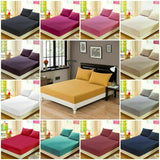 3 PCS EXTRA DEEP FITTED SHEET SET 400 TC 100% COTTON WITH MATCHING PILLOW CASES
