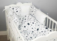 8 pc cot /cot bed bedding sets PILLOW BUMPER + CASES black stars white