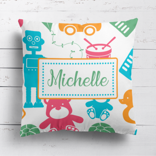 Personalised Unisex Baby Toys Childrens Cushion Cover Pillow Case & Filling