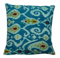 Indian Handmade Cushion Ikat-Print Cover Kantha Throw Ethnic Pillow Case Decor