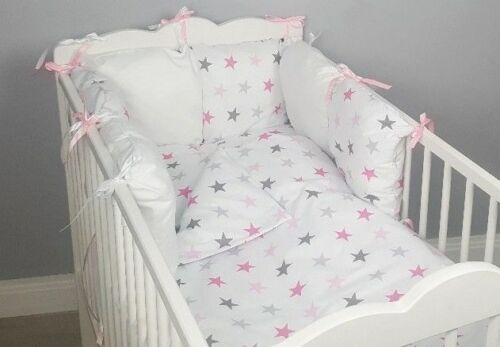 8 pc cot /cot bed bedding sets PILLOW BUMPER + CASES pink stars grey duvet cover