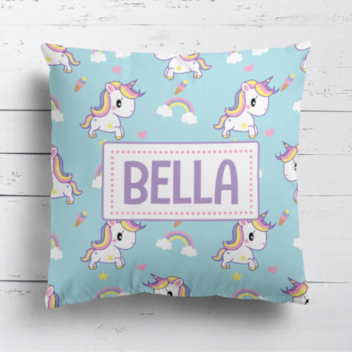 Personalised Baby Unicorn Kids Childrens Cushion Cover Pillow Case & Filling