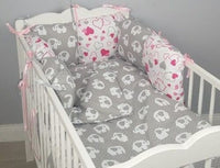 8 pc cot /cot bed bedding sets PILLOW BUMPER + CASES grey elephants hearts pink